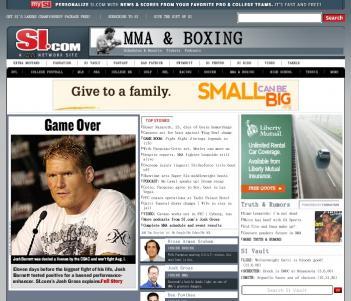 ジョシュ欠場を伝えるSIのMMAコーナーのトップページ