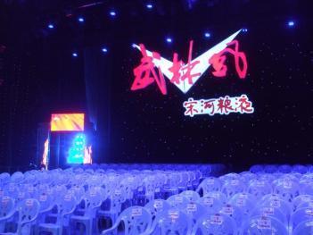 「武林風」の大会ロゴが飾られた会場風景